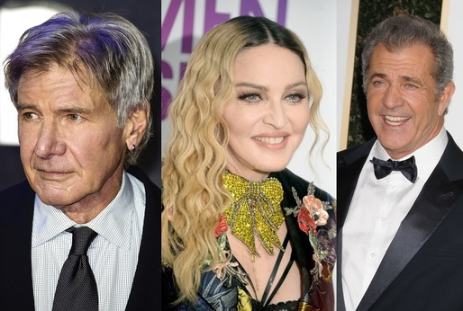Harrison Ford, Madonna, Mel Gibson.