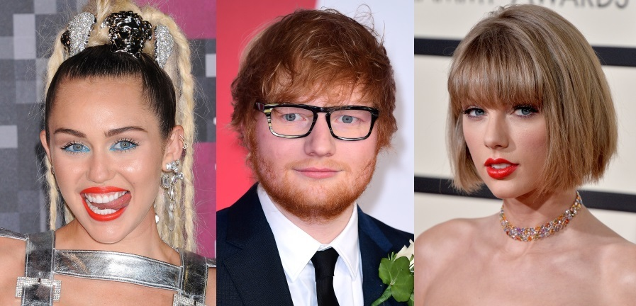 Miley Cyrus, Ed Sheeran a Taylor Swift.