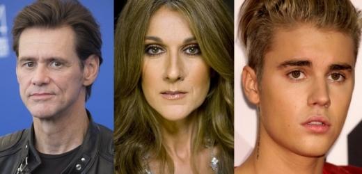 Jim Carrey, Céline Dion a Justin Bieber.