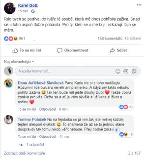 Gott uklidnil fanoušky na Facebooku.